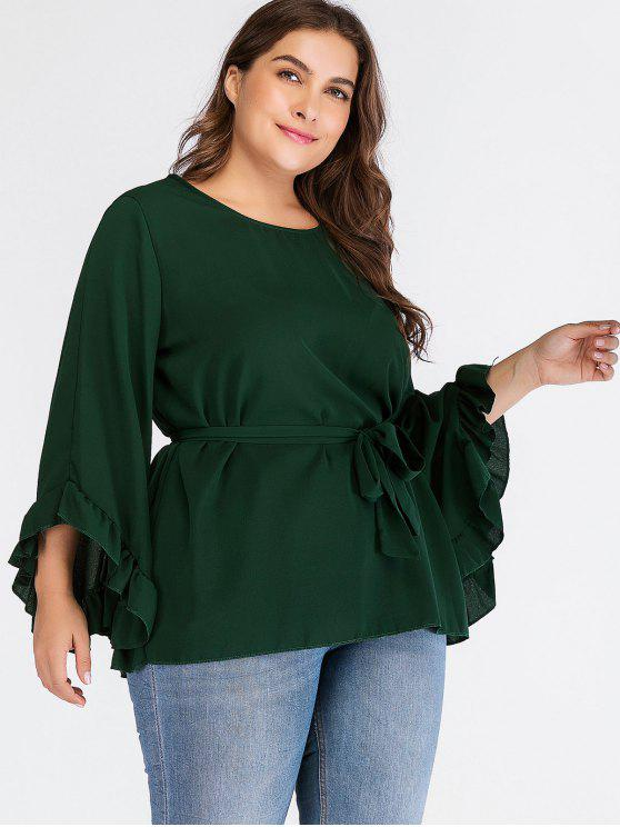 unique Flowy Ruffles Plus Size Top - DEEP GREEN 1X
