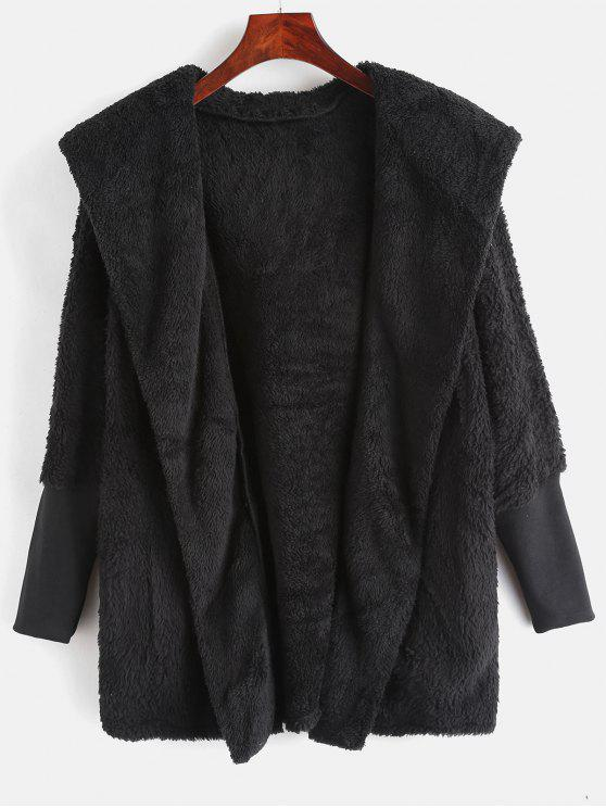 outfits Dolman Sleeves Hooded Fluffy Coat - BLACK ONE SIZE