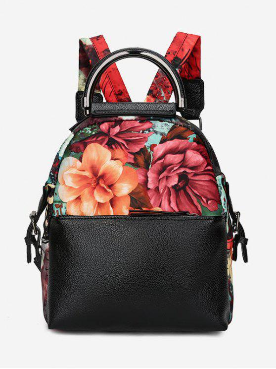 ladies Flower Print Top Handle Backpack - BLACK