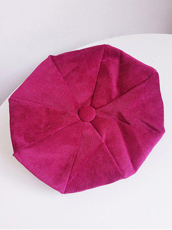 Béret en Couleur Unie en Velours Côtelé - Rouge Rose
