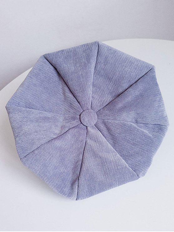 Béret en Couleur Unie en Velours Côtelé - Bleu-gris
