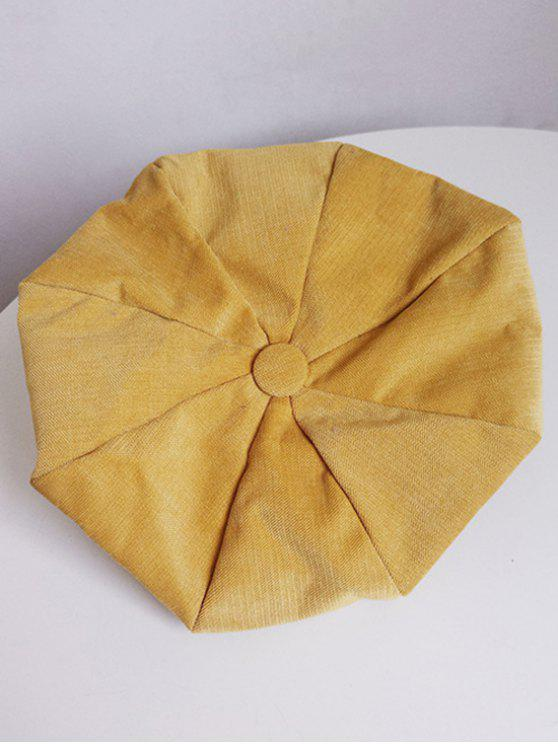chic Solid Color Corduroy Beret - SUN YELLOW