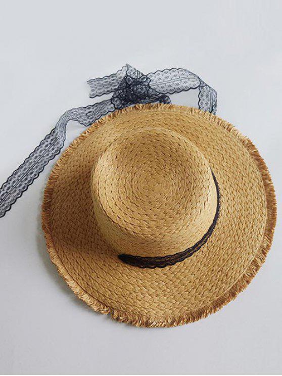 Chapeau de Soleil Vintage Plat à Brodure Large - Brun Biscuit