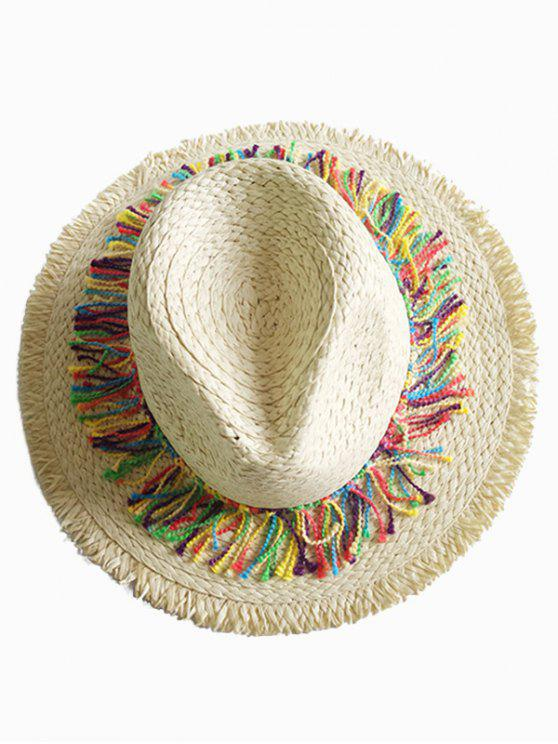 buy Stylish Wide Brim Fringed Straw Sun Hat - BEIGE