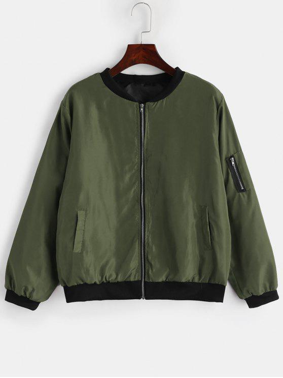 women Utility Pocket Bomber Jacket - HAZEL GREEN L