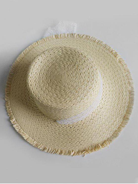 women's Vintage Wide Brim Flat Top Sun Hat - LIGHT KHAKI