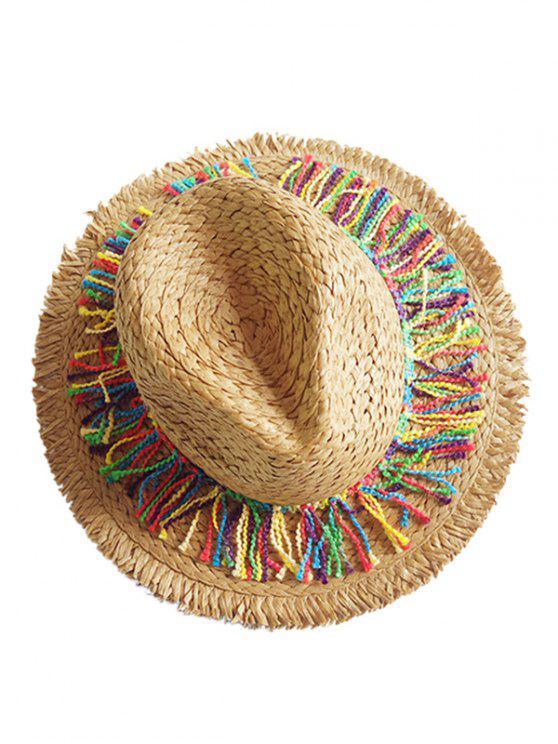 Chapeau de Soleil Elégant en Paille et Frange à Brodure Large - Cannelle