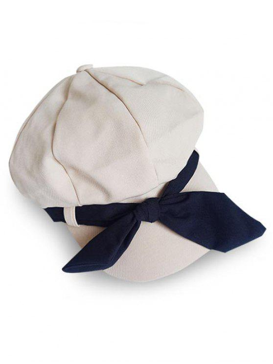 shop Elegant Large Bowknot Solid Color Beret - WARM WHITE