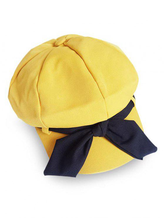 chic Elegant Large Bowknot Solid Color Beret - CORN YELLOW