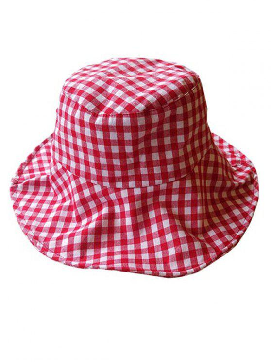 Chapeau Protection Solaire à Carreaux Imprimé pour Extérieur - Rouge Lave