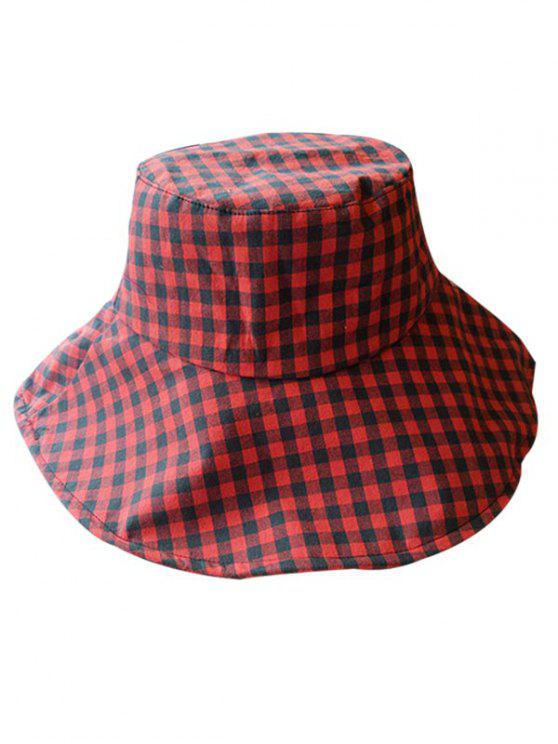 affordable Outdoor Plaid Printed Sunscreen Hat - RED WINE
