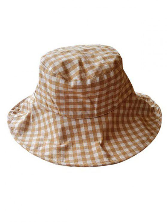 buy Outdoor Plaid Printed Sunscreen Hat - CAMEL BROWN