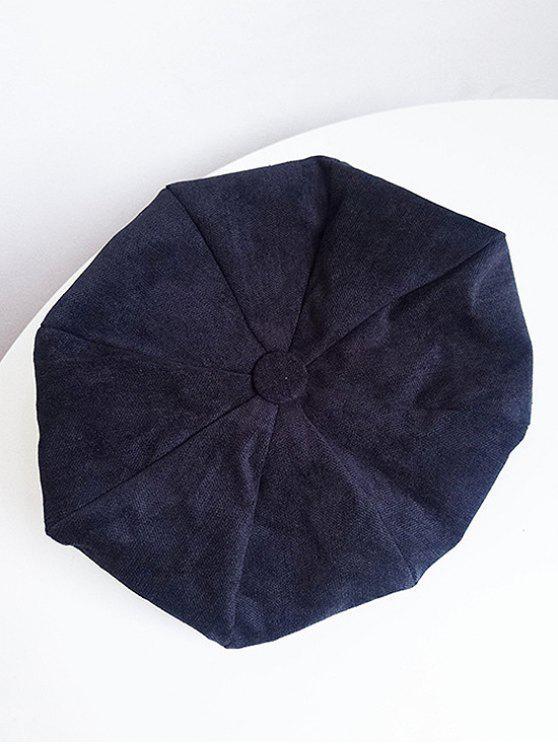 best Solid Color Corduroy Beret - BLACK