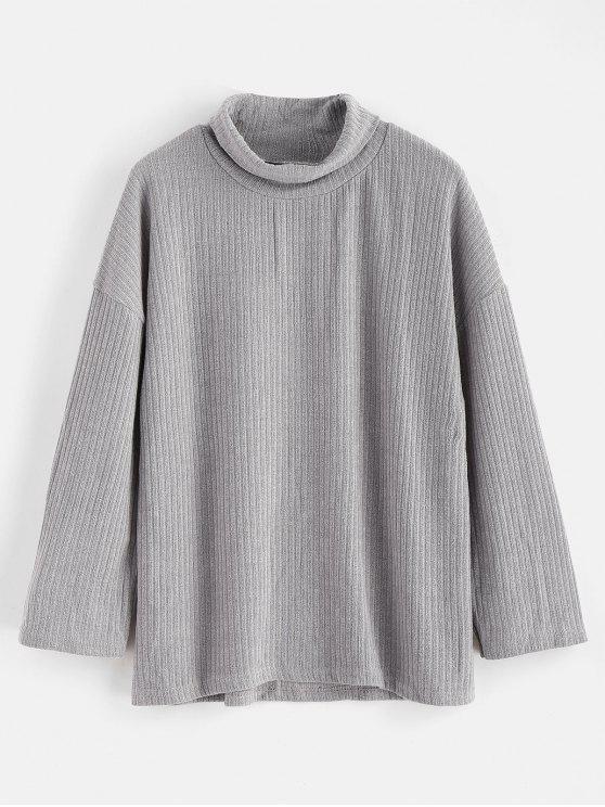 hot Drop Shoulder Boxy Knit Sweater - GRAY S