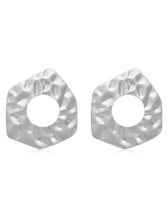 outfit Irregular Geometric Hollow Stud Earrings - SILVER