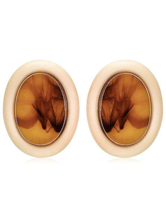 shops Oval Design Fog Print Stud Earrings - LIGHT BROWN