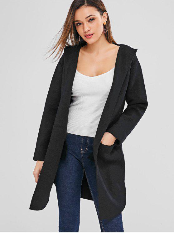 shop Open Front Hooded Longline Cardigan - BLACK ONE SIZE