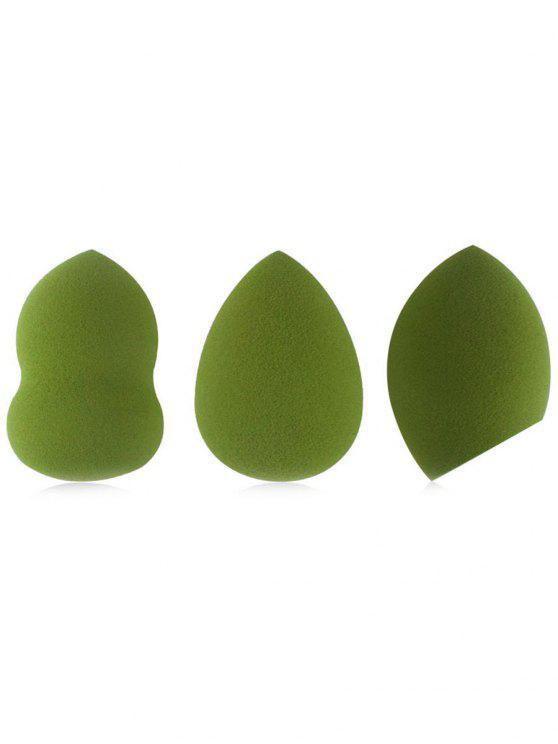 fancy Cosmetic 3Pcs Reusable Foundation Blending Makeup Sponge Set - GREEN ONION