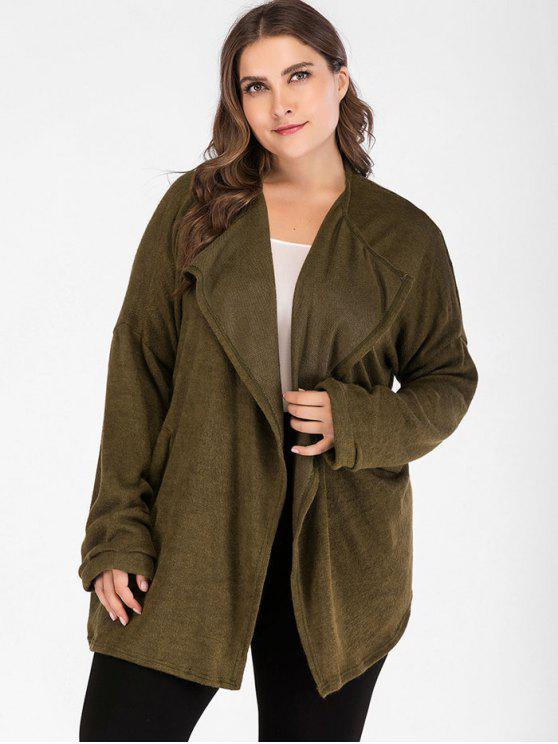 affordable Cosy Plus Size Cardigan - ARMY GREEN 3X