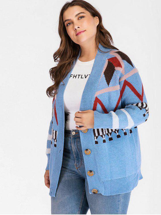 womens Plus Size Geo Jacquard Knit Cardigan - BLUE IVY ONE SIZE