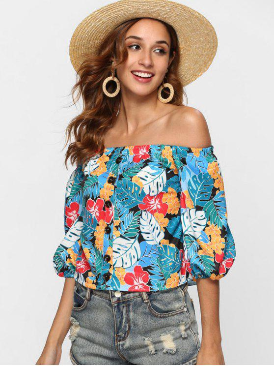 outfit Tropical Print Off The Shoulder Top - MULTI M
