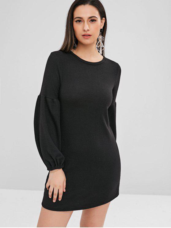 ladies Balloon Sleeve Mini Sweater Dress - BLACK M