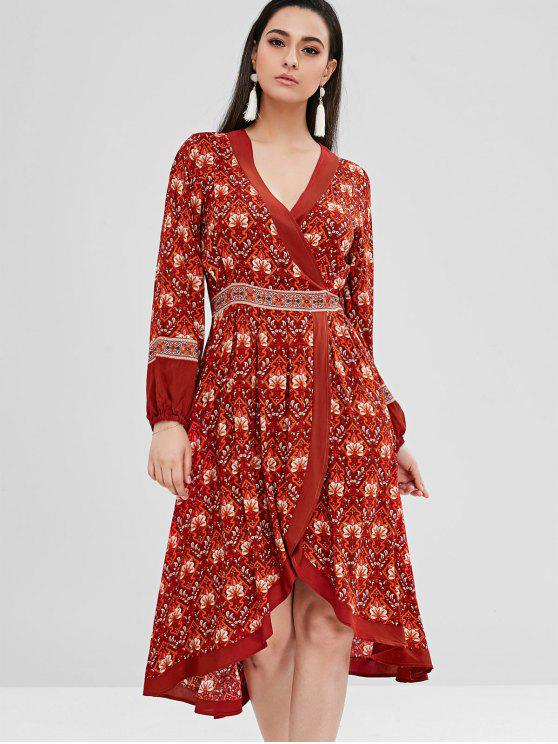 Floral alta baixa Surplice Boho Dress - Multi S