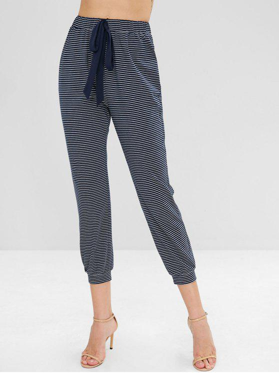 Salezaful Self Tie Bowknot Striped Straight Pants   Midnight Blue M by Zaful