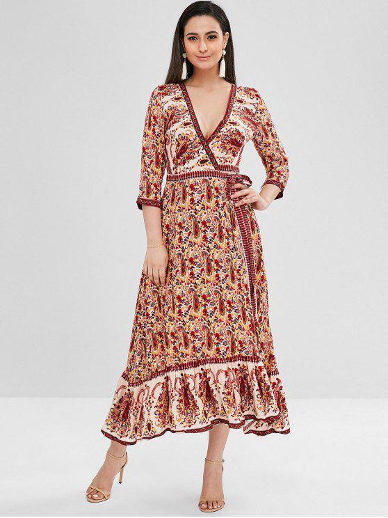 5563d20982bb 34% OFF  2019 Floral Wrap Flounce Maxi Dress In MULTI