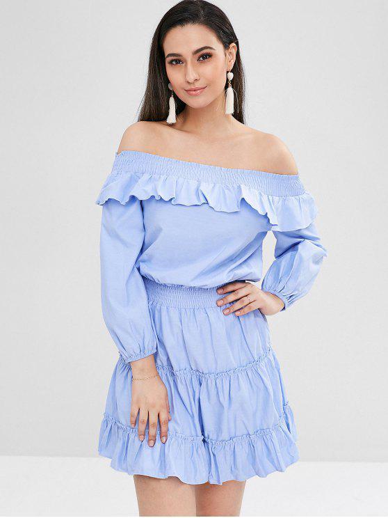 best Ruffled Off The Shoulder Tiered Dress - LIGHT SKY BLUE XS