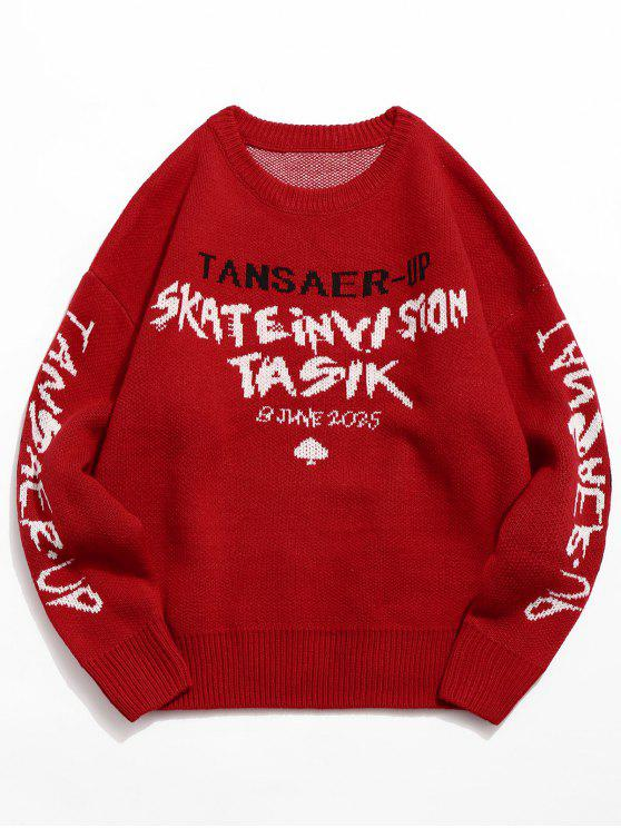 hot Letter Spades Knitted Sweater - RED XL
