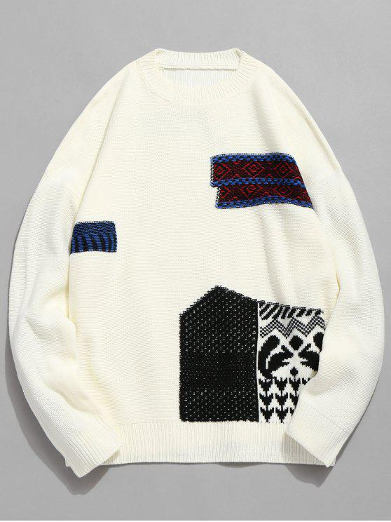 hot Geometric Pattern Pullover Knitted Sweater - WHITE L