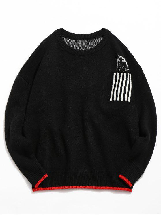 outfit Striped Pocket Contrast Knitted Sweater - BLACK 2XL