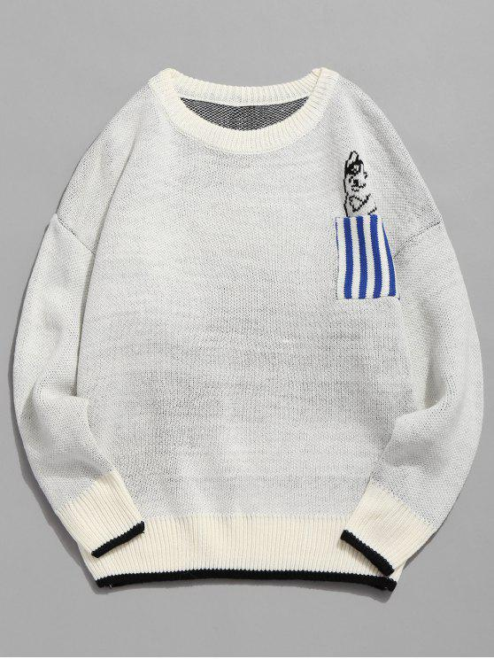 fashion Striped Pocket Contrast Knitted Sweater - WHITE 2XL