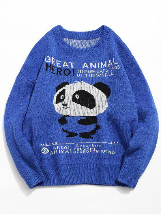 women Panda Letter Pullover Knitted Sweater - BLUE XL