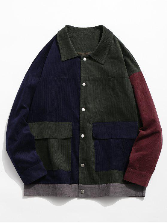 unique Color Block Flap Pocket Corduroy Jacket - DARK GREEN L