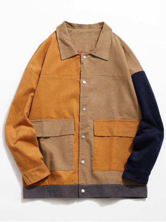 womens Color Block Flap Pocket Corduroy Jacket - ORANGE GOLD L