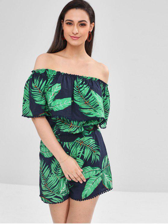 Combinaison Tropical Palmier à Epaule Dénudée à Volants - Bleu Foncé XL