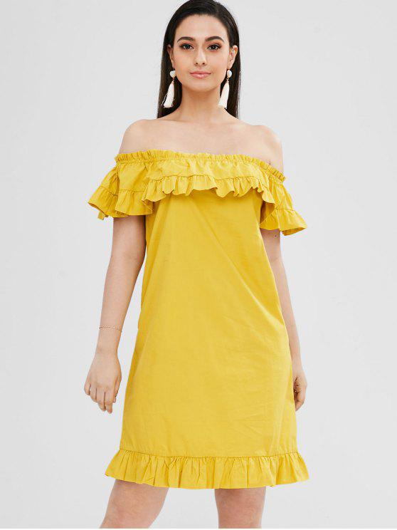 chic Off The Shoulder Ruffle Crisp Shirting Dress - MUSTARD XL