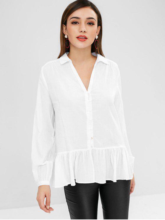 hot Blouson Sleeve Ruffle Hem Shirt - WHITE L