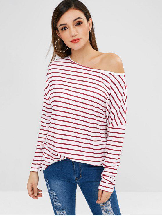 T-Shirt Sciolta A Righe Con Collo Obliquo - Vino Rosso S