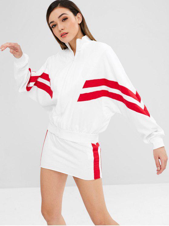 women ZAFUL Batwing Zip Jacket and Skirt Set - WHITE L