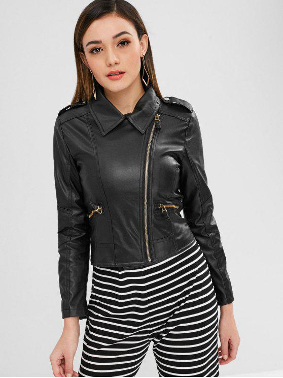 chic Zippered Faux Leather Biker Jacket - BLACK S
