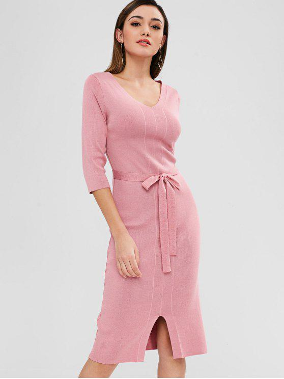 fancy Knit Pencil Sweater Dress with Belt - PINK ONE SIZE