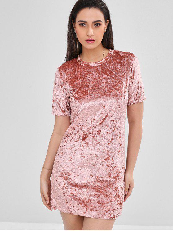 fancy Short Velvet Fitted Tee Dress - PINK L