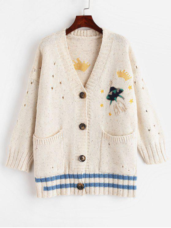 women's Embroidered Button Up Cardigan - WARM WHITE ONE SIZE