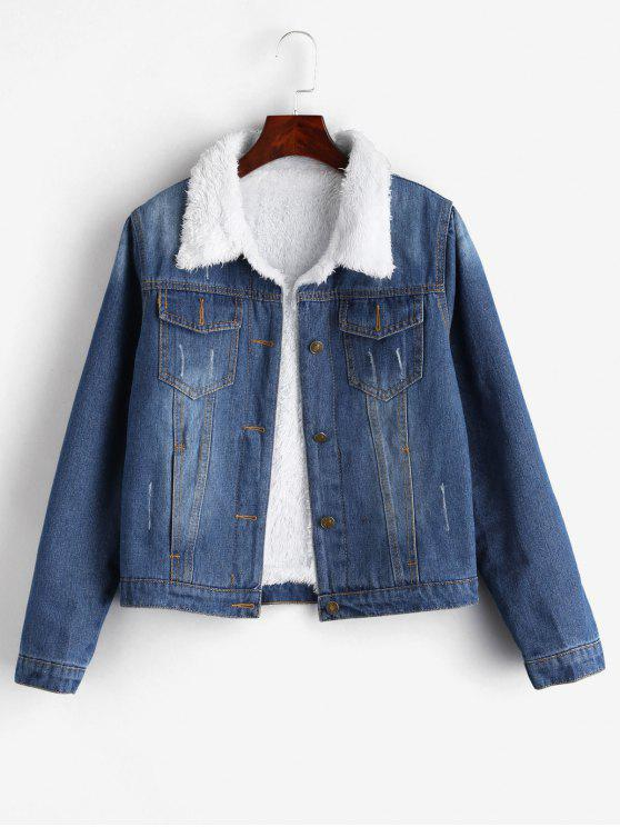 outfit Fuzzy Lining Denim Jacket - DENIM BLUE M