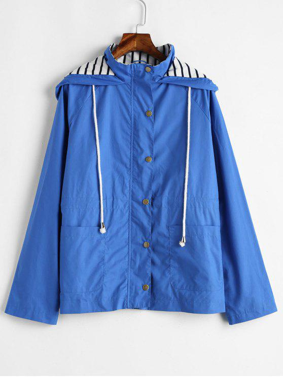 shop Stripes Panel Snap Button Hooded Jacket - OCEAN BLUE M