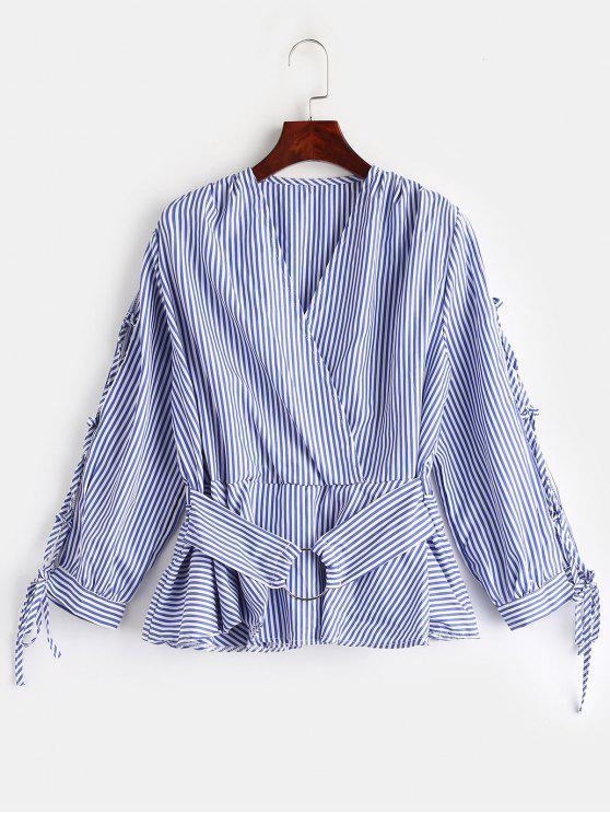 Blouse Jupe Rayée à Lacets - Bleu XL