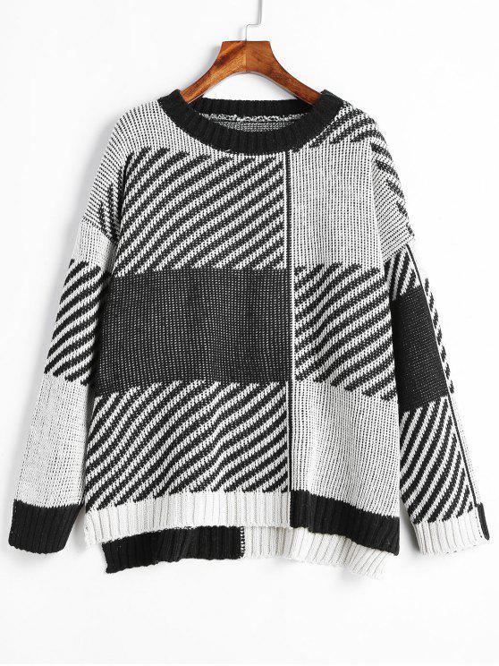 Maglione Bicolore Plus Size - Multi Colori Taglia unica